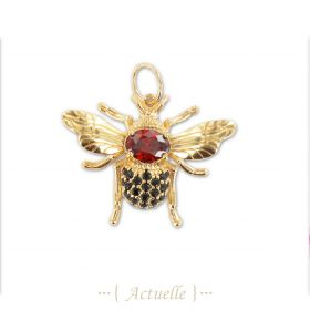 Black and red CZ Bee pendant